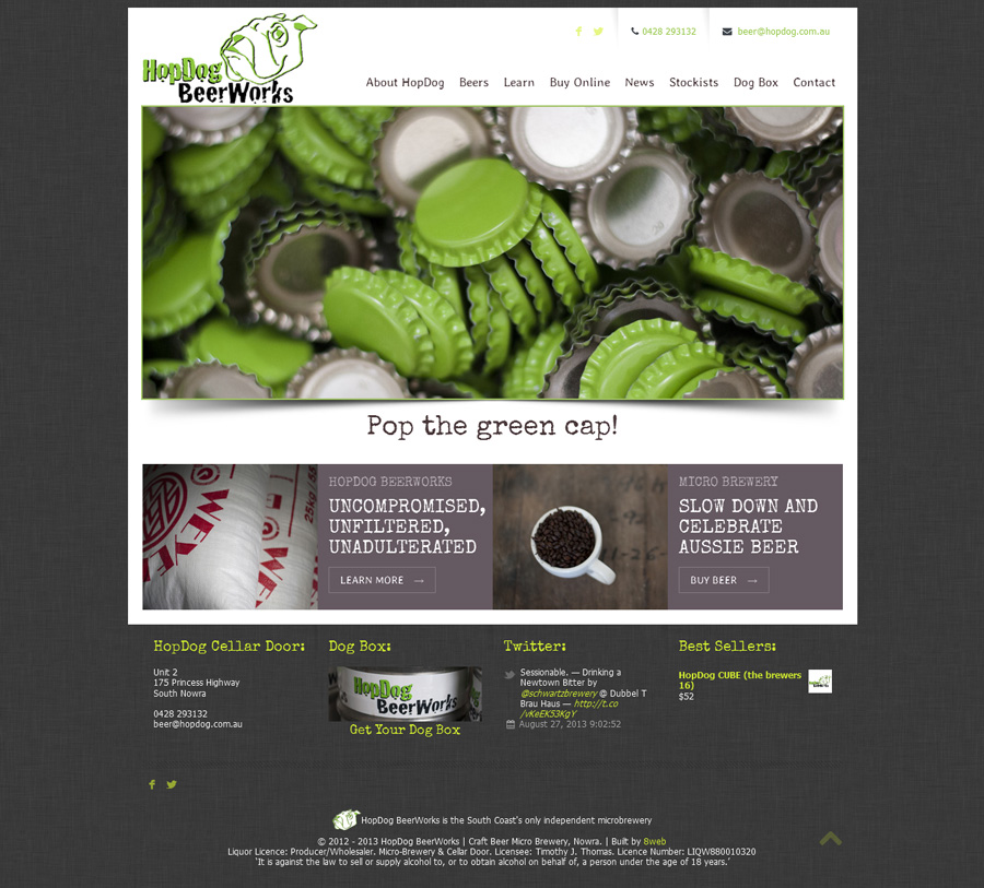 HopDog BeerWorks - responsive webdesign and ecommerce by 8WEB