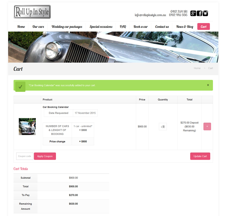 8WEB, website with booking calendar and ecommerce with ability to accept deposits
