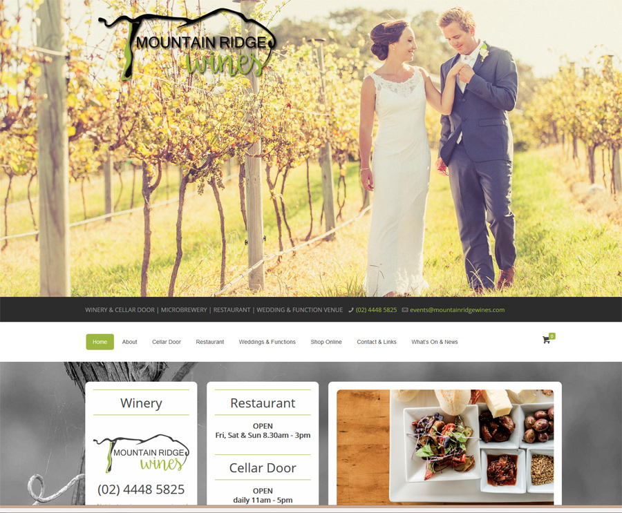 8WEB portfolio, website for a South Coast Winery and Restaurant incorporating ecommerce