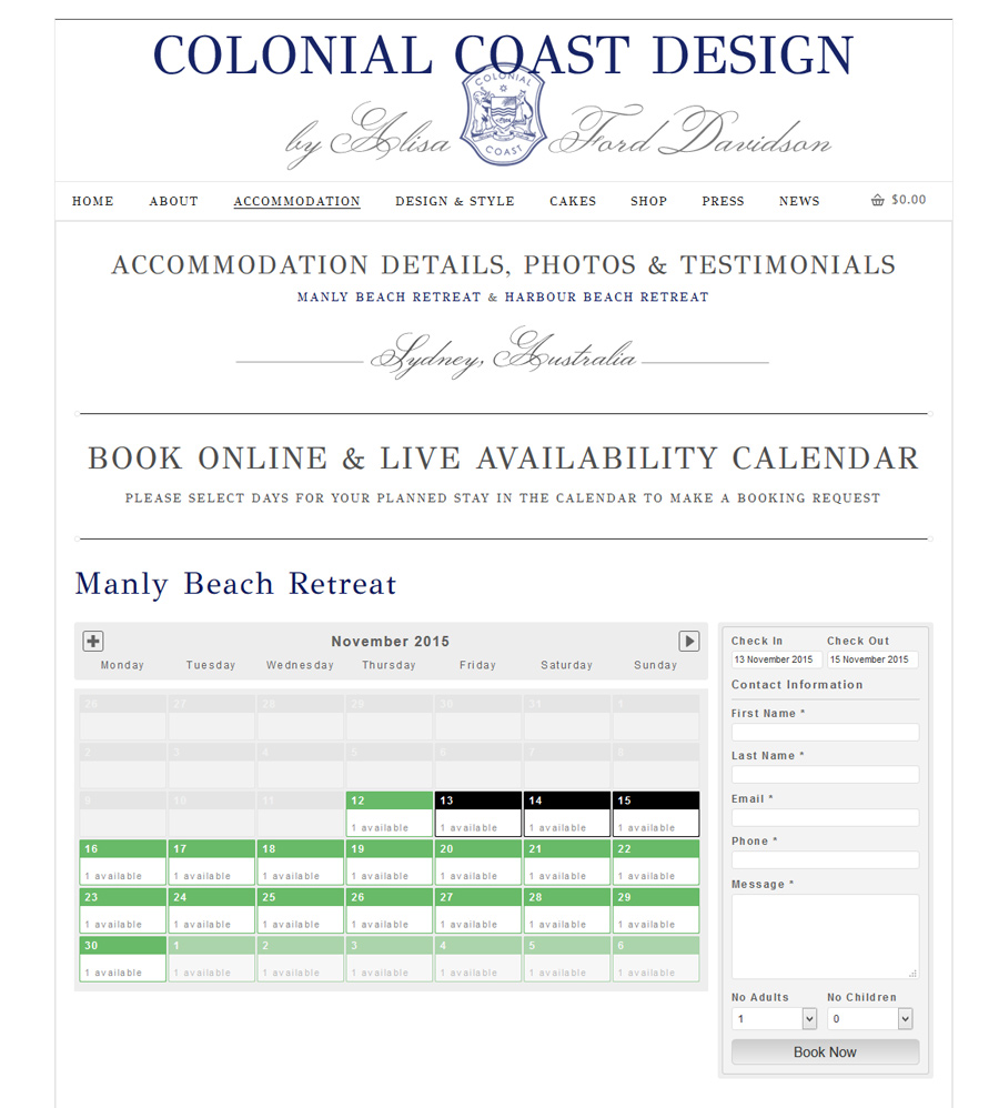 accommodation wordpress webdesign with online booking calendar