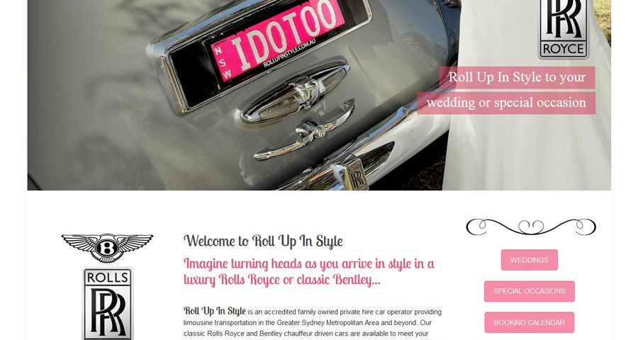 8WEB, South Coast Web Design, website for wedding car rental