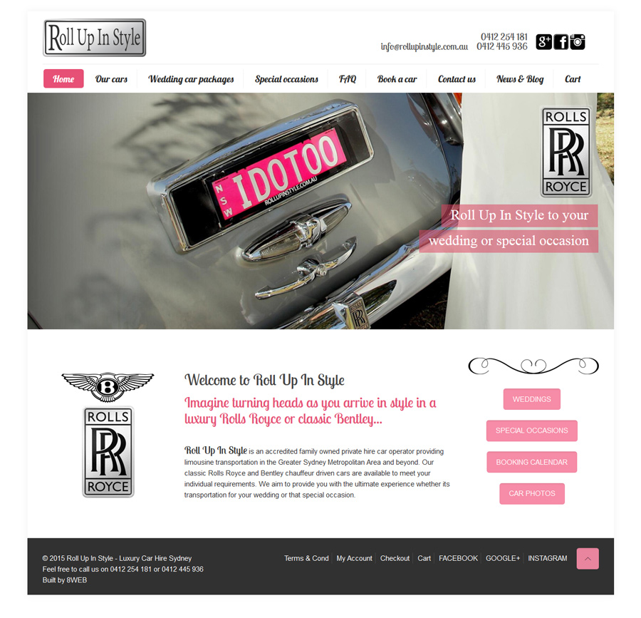 8WEB, South Coast Web Design, website for wedding car rental