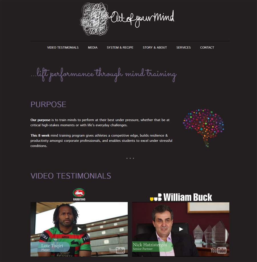 8WEB portfolio, Out of Your Mind, website created for a Sydney corporate mind training company
