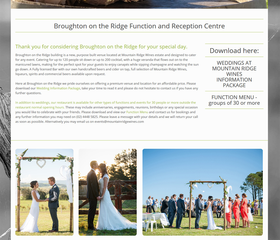 8WEB portfolio, wedding venue website design, information easy to view and download