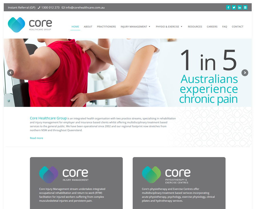 8WEB created website for Brisbane pysiotherapy company