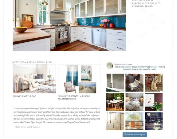 INSIDESIGN web design for Sydney interor designer
