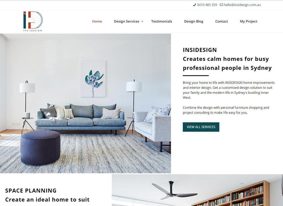 interior design website built by 8web